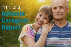 Female mature adult lovingly resting her head on the shoulder of her spouse highlighting Lingraphica's new report entitled The 2020 Aphasia Caregiver Report