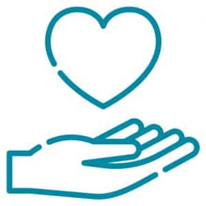 Line drawing of a hand holding a heart indicating a caring staff